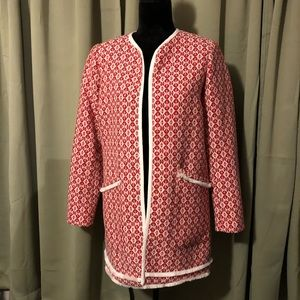Cynthia Rowley Red/White Tapestry Blanket Coat